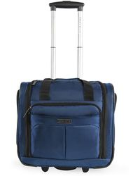 Perry Ellis Excess 9-pocket Underseat Rolling Tote Carry-on Bag Travel - Blue