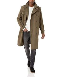 London Fog Plymouth Twill Belted Double-breasted Iconic Trench Coat - Green