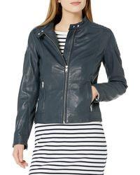 William Rast Leather Washed Moto Jacket - Blue