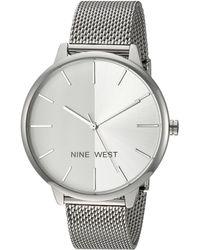 Nine West Nw/1981svsb Silver-tone Mesh Bracelet Watch - Metallic