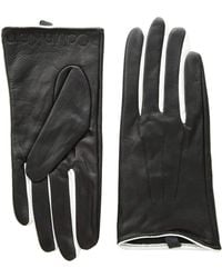 Calvin Klein Leather Gloves W/color Pop & Debossed Logo - Black