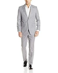 Perry Ellis Two Button Slim Fit Solid Suit - Gray