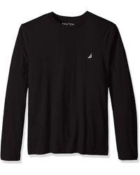 Nautica Long Sleeve Solid Crew Neck T-shirt - Black