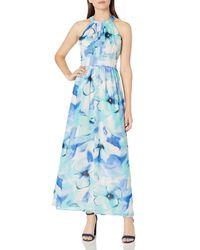 Nine West Pleated Bodice With Shirring At Waist Maxi Dress - Blue