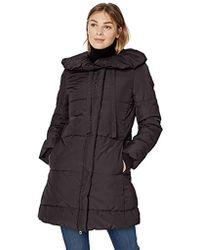 Lark & Ro Long Shawl Pillow Collar Puffer Jacket - Black