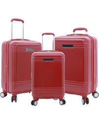 French Connection 3 Piece Horizon Expandable Spinner Luggage Set - Red
