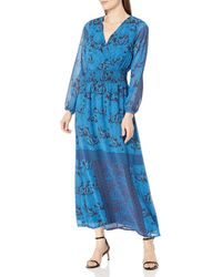James & Erin Peasant Sleeve Deep Vneck Maxi Dress - Blue