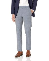Perry Ellis Slim Fit Linen Cotton End Dress Pant - Blue