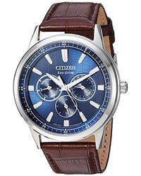 Citizen - Eco-drive Stainless Steel Japanese-quartz Watch With Leather Calfskin Strap, Brown, 20 (model: Bu2070-12l) - Lyst