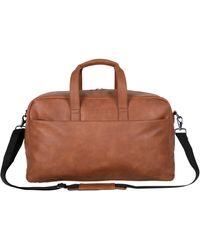 """Kenneth Cole Reaction Port Stanley Faux Leather 20"""" Top Zip Carry-on Travel Duffel Bag - Brown"""