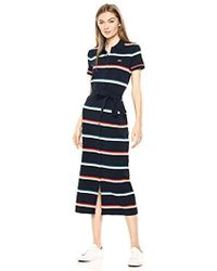 Lacoste S/s Ribbed Cotton Striped Polo Dress - Blue