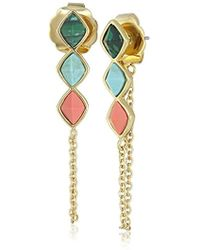 Rachel Zoe - Prestley Pyramid Chain Drop Earrings - Lyst
