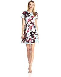 Maggy London - Printed Scuba Watercolor Posie Fit And Flare - Lyst
