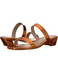 ed1c9becd751 Lyst - Stuart Weitzman Ava Patent Low-heel Slide Sandal in Black