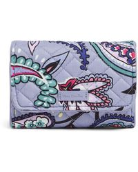 Vera Bradley Signature Cotton Riley Compact Wallet With Rfid Protection - Blue