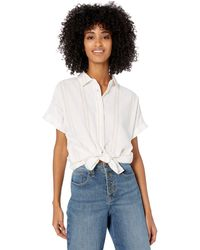 Goodthreads - Washed Cotton Short-sleeve Shirt White/rose Double Stripe - Lyst