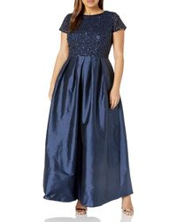 Adrianna Papell Taffeta Gown With Beaded Bodice Plus Size - Blue