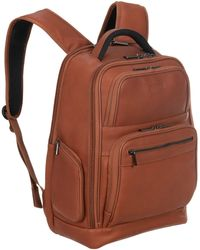 """Kenneth Cole Reaction Full-grain Colombian Leather 16"""" Laptop & Tablet Business Backpack Rfid Travel Computer Bookbag - Brown"""