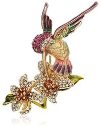Napier Classics Multicolored Hummingbird Flower Brooches And Pin