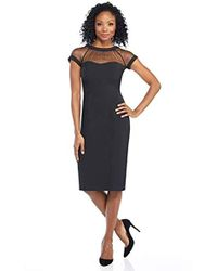 Maggy London Illusion Cap-sleeve Crepe Dress - Black