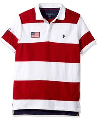 U.S. POLO ASSN. Slim Fit Color Block Short Sleeve Pique Polo Shirt - Red