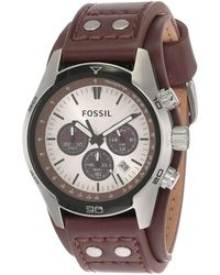 Fossil Chronograph Quartz Watch With Leather Strap Ch2564 - Black
