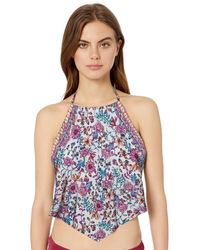 Kenneth Cole Reaction High Neck Handerchief Tankini Swimsuit Top - Multicolor