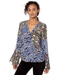 Parker Ximena Flare Sleeve Button Detail Wrap Front Blouse - Blue