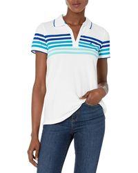 Nautica Classic Fit Striped V-Neck Collar Stretch Cotton Polo Shirt - Bleu