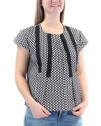 Nine West Bonded Lace Short Sleeve Top - Black