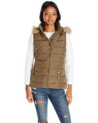 U.S. POLO ASSN. - Long Vest With Faux Fur Trimmed Hood - Lyst