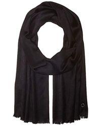 Calvin Klein Solid Satin Feel Pashmina - Black