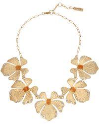 Jessica Simpson Textured Flower Necklace - Orange