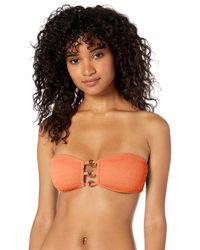 Trina Turk Cabana Solids Bandeau Bra Bikini Top - Orange
