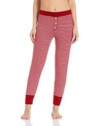 Three Dots Ht6170 Feeder Stripe Pajama Bottom - Red