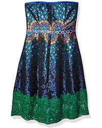 Cynthia Rowley Peacock Jacquard Strapless Dress - Blue