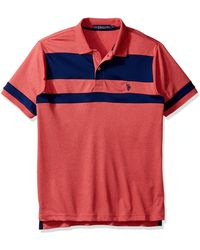 U.S. POLO ASSN. Color Blocked Short Sleeve Classic Fit Polo Shirt - Blue