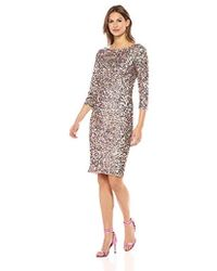 Adrianna Papell Short Sequin Cocktail Dress W/ 3/4 Sleeve (pink Multi) Dress