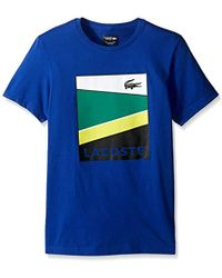 Lacoste Sport Geometric Stripe Graphic T - Blue