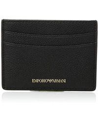 Emporio Armani - Designer Leather Cardholder, Black - Lyst