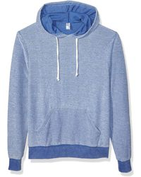 Alternative Apparel Challenger Loopside Burnout French Terry Pullover Hoodie - Blue