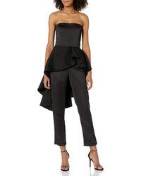 Halston Strapless Satin Peplum Jumpsuit Black