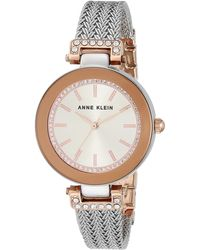 Anne Klein Swarovski Crystal Accented Rose Gold-tone And Silver-tone Mesh Bracelet Watch - Metallic
