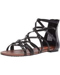 b58b30bd1000 Lyst - Naturalizer Kimono Flat Sandals - Black Smooth in Black
