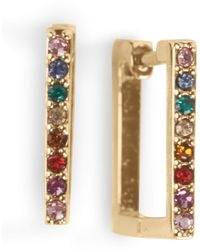 Lucky Brand Rainbow Pave Square Huggie Earrings - Metallic
