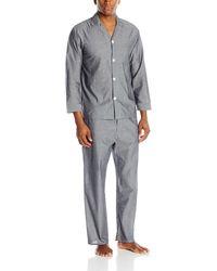 Geoffrey Beene Long Sleeve Broadcloth Pajama Set - Gray