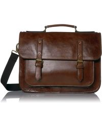 Fossil Greenville Leather Messenger Bag - Brown