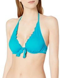 Guess Ruffle Trim Halter Bikini Top - Blue