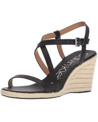 Calvin Klein Bellemine Espadrille Wedge Sandal - Black