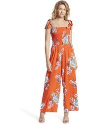 Jessica Simpson Romie Shoulder Tie Smocked Jumpsuit - Orange